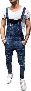 Cffvdiz Mens Dungarees Hole Ripped Slim Fit Denim Bib Overalls Jeans Jumpsuit