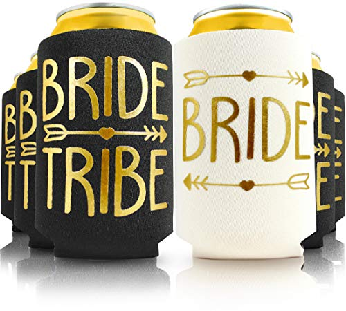 11pc Set. Bride Tribe and Bride Drink Coolers for Bachelorette Party, Bridal Shower and Wedding. 4mm Thick Bottle Sleeves, Can Coolies, Beverage Insulators (11pc Set, Black & Gold)