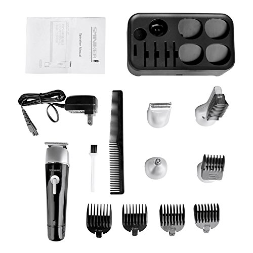 Sminiker Professional 5 in 1 Waterproof Man's Grooming Kit Hair Clippers Beard Trimmer Dual Shaver Body Trimmer Nose Hair Trimmer Precision Trimmer Rechargeable