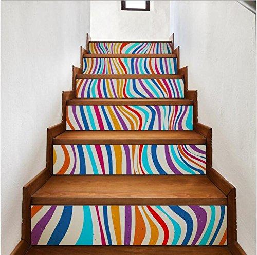 Sticker mural escalier bois rayures couleur 3D auto-adhesiveRefurbished PVC respectueux de l'art mural Papier peint amovible Décorations Accueil ,facile à appliquer,1 jeu (6 pc)