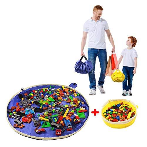 SUMBABO Lego Spielzeug Aufbewahrung Sack für Kinder - Spielzeug Aufraeumsack Teppich Decke Sack Spielmatte Sack von Kordelzug mit Kappe wie Reisetasche als Geschenk 2St=1Blau Groß + 1 Gelber Mini