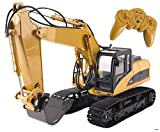 Memtes 15 Channel Full Functional Remote Control Excavator Tractor Construction Toy, Metal Shovel, with Lights and Sounds