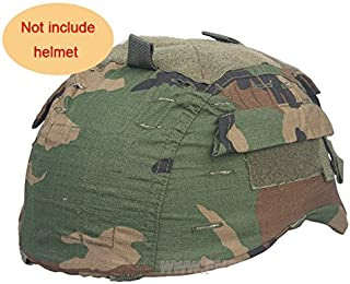 H World Shopping Tactical Military Airsoft Hunting Helmet Cover W/Back Pouch for MICH 2001 Woodland Camo