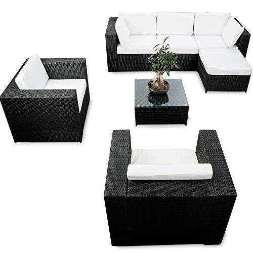 XINRO® erweiterbares 21tlg. XXL Polyrattan Garten Lounge Möbel Ecksofa - schwarz - Gartenmöbel...