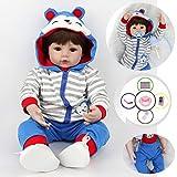 AIBAOLIAN 18pulgadas 45 cm Reborn Bebe Muñeca niño Silicona Vinilo Realista Baby Doll Boy con los Oj...