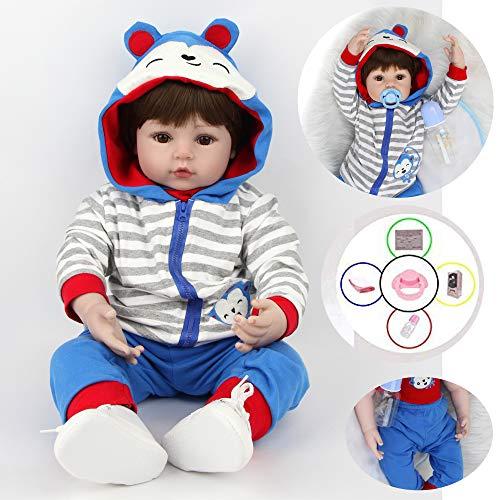AIBAOLIAN 18pulgadas 45 cm Reborn Bebe Muñeca niño Silicona Vinilo Realista Baby Doll Boy con los Ojos Cerrados Dormir Toddler Magnetismo Juguetes