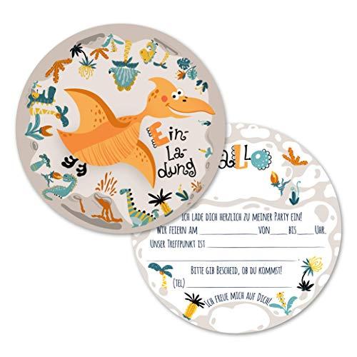 12 Einladungskarten Kindergeburtstag Dinosaurier, Die Kinder Geburtstagseinladung für Jungen und Mädchen, Geburtstags Karte Dino (12 Einladungskarten ohne Kuvert)