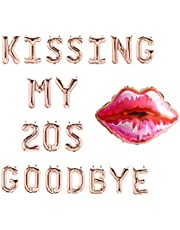 JeVenis Kissing My 20s Goodbye Decorations Kissing My 20s Goodbye Banner Balloons 30th Birthday Balloon Dirty 30 Balloon