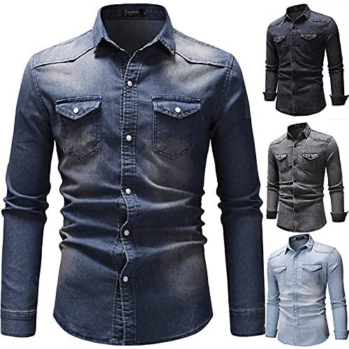 Dasongff Camisa para hombre | manga larga | corte recto camisa de verano, azul oscuro, XL