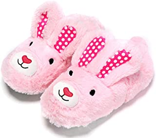 Elcssuy Girl's Bunny House Slippers Warm Cozy Fleece Memory Foam Bedroom Shoes