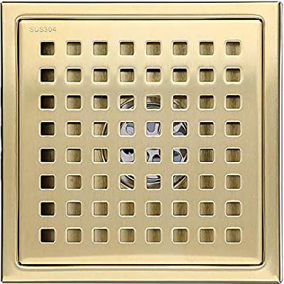 6-inch SUS304 Stainless Steel Square Shower Floor Drain with Tile Insert Grate Removable Multipurpose Invisible Look or Flat Cover,Brushed Stainless