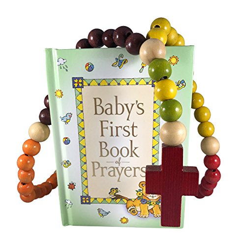 Baby Catholic Baptism Gift Set, Includes Babys First Rosary and Babys First Book of Prayers, Perfect Baptism, Christening, Shower Gifts
