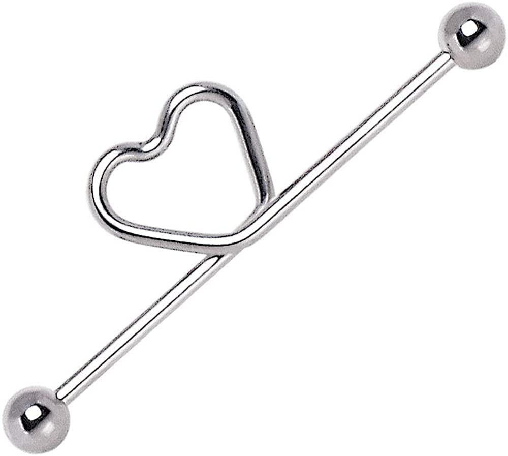 Curved Heart Stainless Steel Industrial Barbell