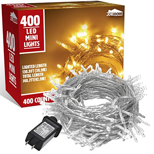 400-Count Warm White LED Christmas Light (8 Modes), Clear Wire LED Xmas String Lights for Indoor or Outdoor Christmas Decorations