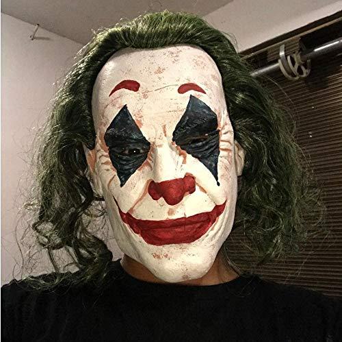 tggh Mscara de ltex de Halloween The Dark Knight Cosplay Horror Scary payaso mscara Joker con peluca de pelo verde Mscara de ltex de Halloween (color : B)