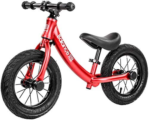 LINGZHIGAN Bicicleta de Equilibrio Bicicleta de Balance de Bicicleta Bicicleta de 2-6 años niñas, Marco de aleación de Aluminio, sin Pedal (Color : Red)