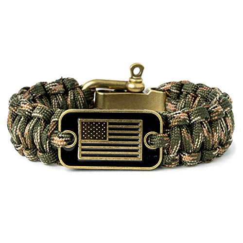 iHeartDogs Camo Paracord Bracelet - Tactical Survival Bracelet for Men with Bronze USA Flag - Helps Pair Military Veterans with a Companion Dog