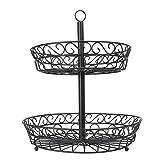 2 Tier Fruit Bowl | Kitchen Storage | Vegetable Rack | Fruit & Veg Basket | Iron Wire Bowl | Storage Bowl | M&W