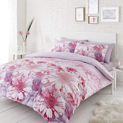 Catherine Lansfield Daisy Dreams Easy Care Double Duvet Set Pink
