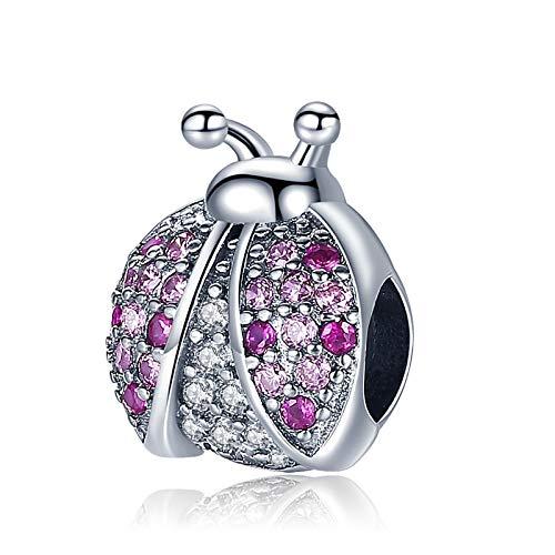 Abalorio de mariquita de plata 925 compatible con abalorios Pandora, pulsera de cadena de plata, Trollbeads, Chamilia y Biagi