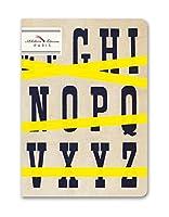 Alibabette Editions Typo Top 裏地なし堆肥ノート、6.75 x 4.75インチ エクリュリネンステッチ付き 64ページ番号付きページ (CH2P001)