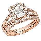 1.8 Ct Emerald Cut Pave Halo Engagement Wedding Bridal Anniversary Ring Band Set 14K Rose Gold, Size 7, Clara Pucci