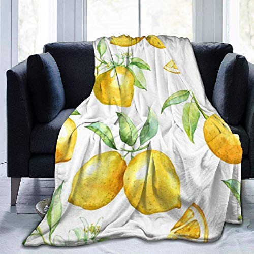 Adult Child Super Soft Blankets, Lemon Super Warm Throw Wrap Large Throw Wearable Cuddle, Office Blankets