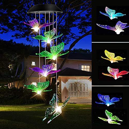 Windspiel Solarlichter, Schmetterling Windspiele LED geführt, Garten Dekoration Licht RGB Multi-Color Allmähliche Änderung, Geschenke für Mama, Frau, Oma (Butterfly)