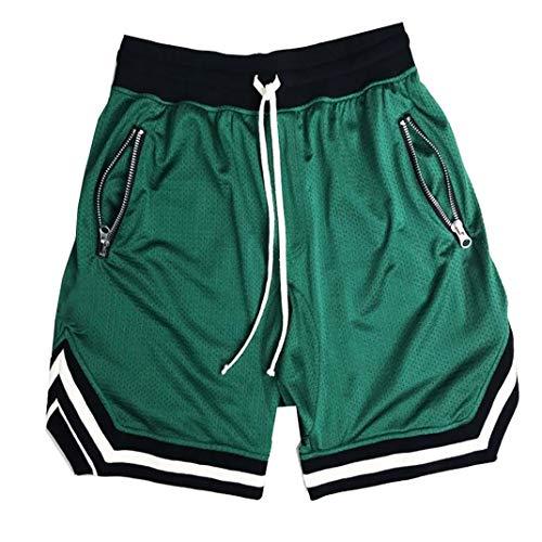 SUNSIOM Men's Basketball Shorts Gym & Running Elastic Waistband Short Pants(Green,XL)