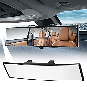 Rear View Mirror 12 Inch Interior Clip On Panoramic Rear View Mirror Convex Wide Angle Universal Car Rear View Mirror High Definition Anti-Glare Reduce Blind Spot Effectively