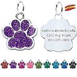 FUSIYU Placa Chapa Medalla, Etiquetas de Identificación de Mascotas Etiquetas de Perro Personalizada Grabado para Collar Perro Gato Mascota Grabada Brillantitos Aleación de Zinc, Pata Plata,Púrpura