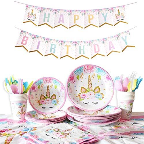 DreamJing 114pcs Vaisselle Licorne avec Vaisselle Assiette en Papier Gobelet Serviettes Nappe Fourchettes pour Cadeau d'anniversaire Enfants Parfait Accessoires pour l'anniversaire Sert 16 Invités