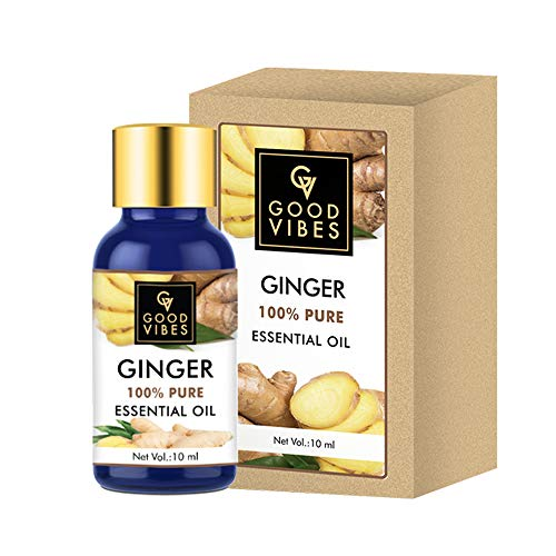 Good Vibes 100% Pure Ginger Essential Oil - 10 ml - Helps Reduce Dandruff, Acne & Wrinkles - Cruelty Free
