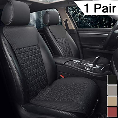 Black Panther 1 Pair Luxury PU Car Seat Covers Protectors for Front Seats, Triangle Pattern, Compatible with 95% Cars (Sedan/SUV/Pickup/Van) - Black