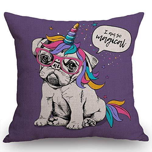 Swono Puppy Bulldog Unicorn Pattern Cotton Linen Throw Pillow Case,Funny French Bulldog I am so Magical Quote Pillow Cushion Cover Home Sofa Decorative 18 X 18 Inch (Cushion Cover)