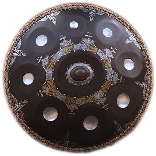 "LLC-POWER Hand Pan in D-Moll 9 Hinweise Steel Drum + Soft Hand Pan-Tasche 22\"" / 56 cm, 9 Hinweise (D3 A B C D E F G A), Für Musik Und Sound Healing Religion Yoga Zen-Tee, Gold,Schwarz"