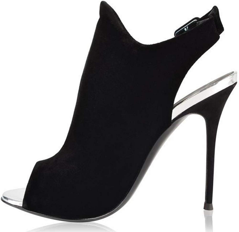 Shiney Ankle Boots Ladies Black Suede Peep Toe Dew Stiletto Heels High Heel Buckle Large Size