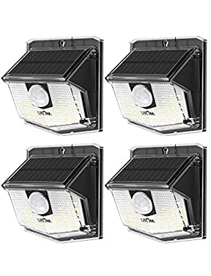 LITOM Solar Lights Outdoor, IP67 Waterproof Solar Motion Sensor Light with 270° Lighting Angle, Wireless 30 LED Solar Powered Security Wall Lights for Patio,Yard,Garage,Garden,Stairs,Driveway