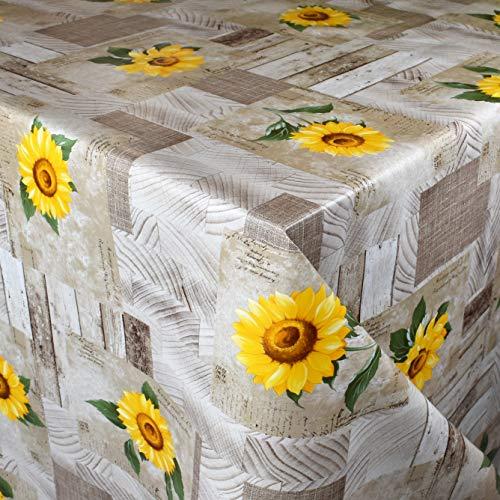 KEVKUS Wachstuch Tischdecke Meterware 163A Sonnenblumen auf Holz Blumen Sommer Garten wählbar in eckig rund oval (Rand: Schnittkante (ohne Einfassung), 100 x 140 cm eckig)