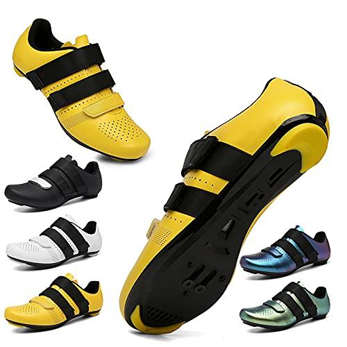 KUXUAN Fahrradschuhe Herren Damen Rennradschuhe Mit Schloss Rennrad Power Schuhe Frühling Sommer Mountainbike Sportschuhe,Yellow-47EU
