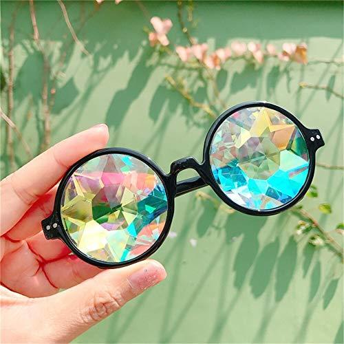 xingxing Gafas redondas transparentes de caleidoscopio, lentes de cristal, para fiesta, fiesta, para hombres, mujeres, fiestas, regalos de reina (color del marco: negro)