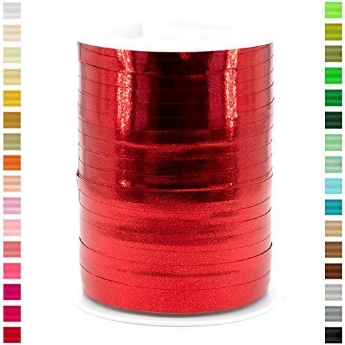 Star Geschenkband Ringelband Polyband 5mm x 250m Metallic Farbe: Rot