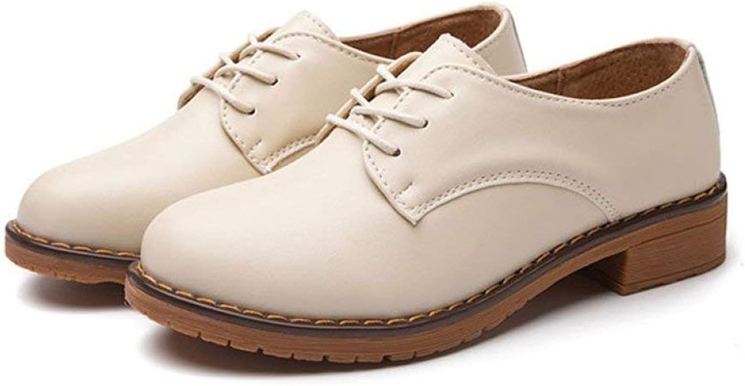 Fay Waters Women's Classic Round Toe Oxfords Lace Up Low Heel Flat Plain Tone Leather shoes
