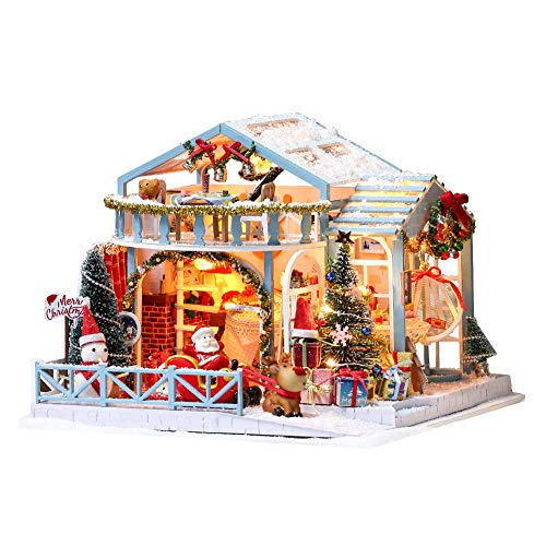 DIY Miniature Dollhouse Kit Christmas Wooden Doll House with Furniture Set Toy Model House with Dust Proof Cover and Music Box Santa Claus and Elk Cabin Handcrafts Gift Kids Teens Adults