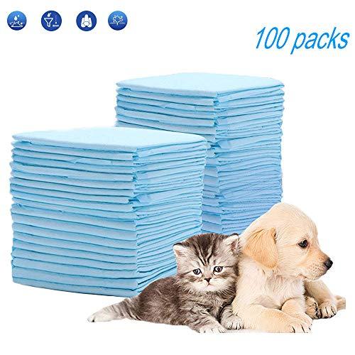 Puppy Training Pads, HyAdierTechTrainingsunterlagen für Welpen, 33x45cm Extra Saugstarke Welpenunterlage, Welpentoilett Hygieneunterlagen für Haustiere, Super Saugfähig, Diese Neue (100er Pack)