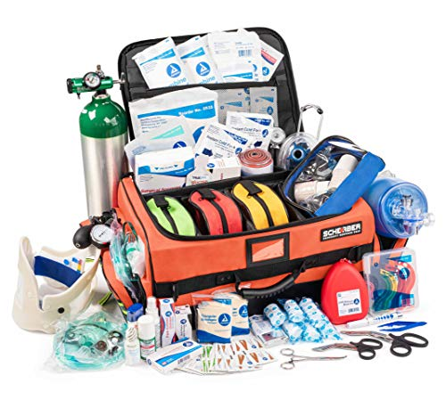 Scherber First Responder Bag | Fully Stocked Ultimate Professional EMT/EMS Trauma Kit | Reflective Bag w/10+ Compartments, Zippered Pockets, Dividers, Oxygen Access & 250+ First Aid Supplies - Orange