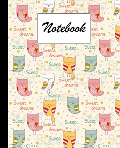 Notebook: Sleeping Owl Composition Notebook - College Ruled 120 Pages - Large 7.5
