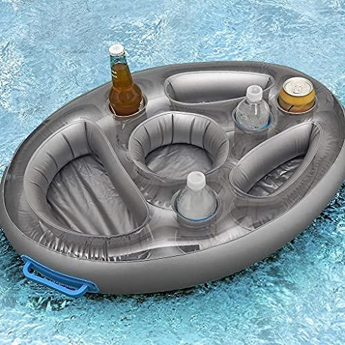 KLG Bandeja flotante de 8 agujeros, soporte flotante para bebidas de alta calidad para piscinas y jacuzzis, bandeja para la playa y al aire libre, soporte para bebidas portátil multifuncional