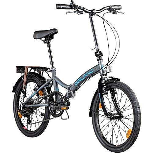 Klapprad 20 Zoll Fahrrad Faltrad Galano Metropolis Campingrad Citybike (grau/blau)