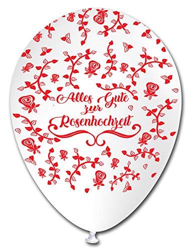 Unbekannt 5 Luftballons Alles Gute zur Rosenhochzeit , ca. 30 cm Durchmesser
